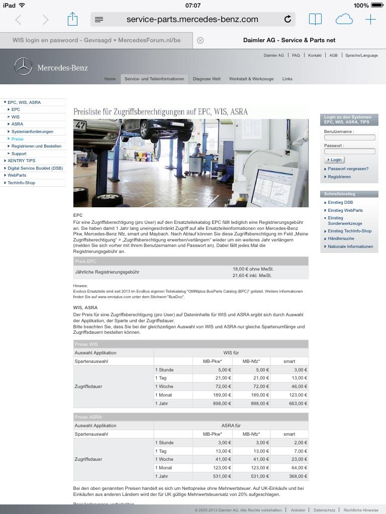 WIS login en paswoord - MercedesForum nl/be
